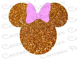 minnie mouse head gold glitter bling image text mouse