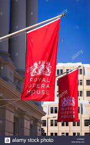 Banners Flags Pennants London Covent Gardens Royal Opera House Front Facade With