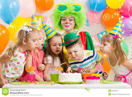 birthday party for kids clown at children birthday party with kids stock photo image