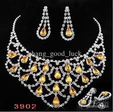 yellow necklace set images Pink bridal jewelry set rhinestone necklace earrings suits bride jpg
