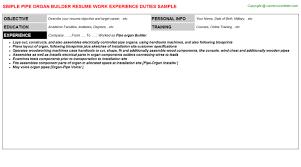 Career Builder Resume Samples by Pipe Organ Builder Resume Sample