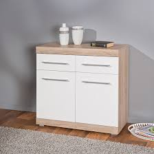 White Gloss Sideboards Metford 2 Door Sideboard In Oak With White Gloss Fronts