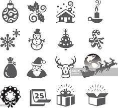 season and traditions black white vector icon set vector