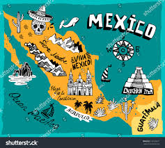 Map Mexico Illustrated Map Mexico Main Attractions Stock Vector 312765077