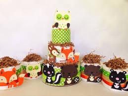 set of five mini woodland theme diaper cakes woodland theme baby