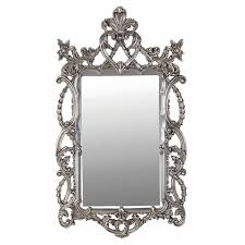 large shabby chic ornate silver effect painted baroque wall mirror