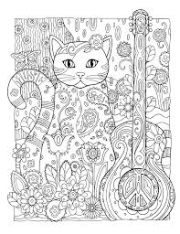 grown coloring pages abstract cat guitar coloringstar