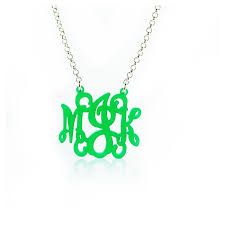 acrylic monogram necklace monogram necklace with swirls mjk design