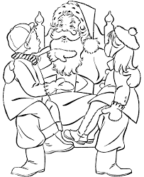 kids and santa claus coloring page christmas coloring pages of