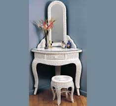 Makeup Vanity Table With Drawers Furniture Charming White Wicker Corner Makeup Vanity Set