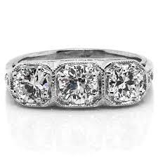 art deco three stone diamond platinum engagement ring claude