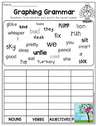 graphing grammar circle and write each word in the correct column