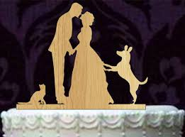 cake topper with dog and groom silhouette wedding cake topper with cat and dog