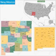 Map Of Albuquerque New Mexico by Map Of New Mexico State Designed In Illustration With The Counties