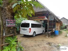 lexus van from puerto princesa to el nido to be on the road hostel tay miloy inn in el nido philippines