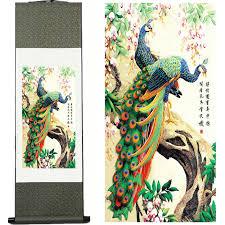 silk peacock home decor home decor silk ink magpie watercolor flower and bird decorative