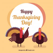 happy thanksgiving day background with friendly turkeys vector