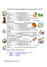 complete the sentences using was or were esl worksheets aj