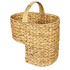 woodluv oval wicker stair basket step basket with handle white