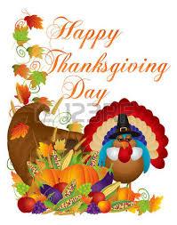 happy thanksgiving day fall harvest cornucopia and pilgrim turkey