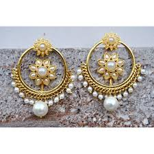 punjabi jhumka earrings buy punjabi pearl sunflower bali hoop earrings online