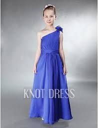 one shoulder with floral ruffles blue sash chiffon u0027s party