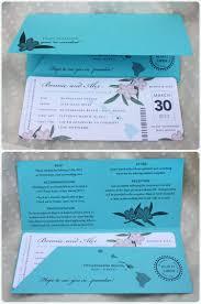 Boarding Pass Wedding Invitation Card Turquoise U0026 Coral Plumeria Boarding Pass Wedding Invitations