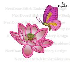 butterfly embroidery design lotus flower machine embroidery
