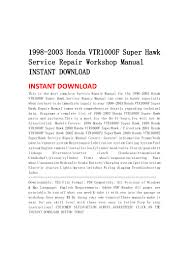 1998 2003 honda vtr1000 f super hawk service repair workshop manual i u2026