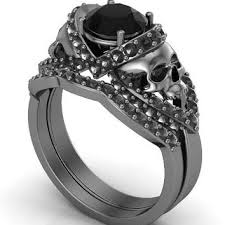skull wedding ring sets shop black diamond skull ring on wanelo