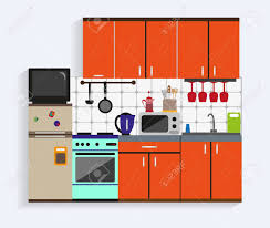 modern kitchen cabinets tools kitchen interior with furniture in flat style design elements
