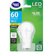great value led light bulb 10w 60w equivalent dimmable gu24