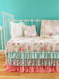 bumperless shabby chic roses crib bedding set by lottiedababy