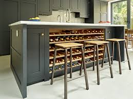 grey black kitchen island design with integrated wine rack in oak