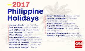 malacañang declares holidays for 2017 cnn philippines
