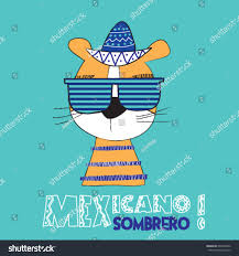 cute mexican tiger tshirt design kids stock vector 649467862