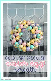 diy easter wreath with gold leaf speckled eggs