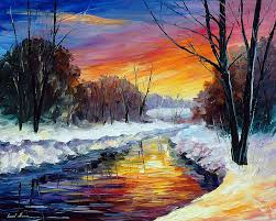 end of winter wall palette knife painting on canvas by