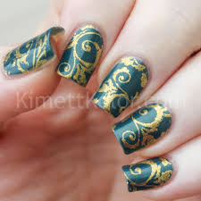 teal and gold baroque stamping kimett kolor