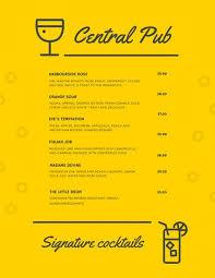 pub menu templates canva