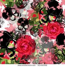 camo flowers seamless pattern floral design camo background stock illustration