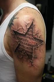 words skin rip on shoulder tattoos book 65 000