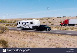 Arizona travel and transport images Pickup towing fifth wheel travel trailer on i 10 in southeastern jpg