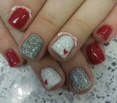 the combination of red white and silver glitter nail always