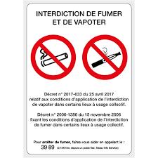 vapoter au bureau panneau interdiction de fumer et vapoter sin200