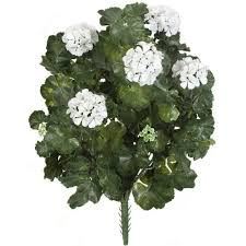Faux Outdoor Bushes 26 In Artificial Fade Resistant Plastic Outdoor White Flowers