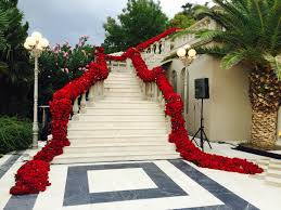 amazing floral wedding staircase made of red roses jeff leatham