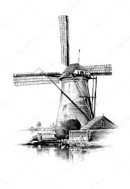 windmill old retro vintage drawing u2014 stock photo maxtor7777