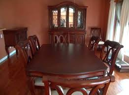 used cherry wood dining room set queen anne chairs cheap dark sets