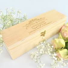 engraved wooden wine box wedding gift bridal party wine gift